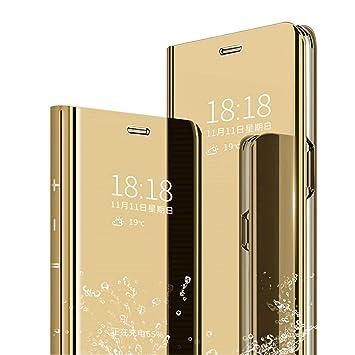 MLOTECH Funda para Samsung S10 Plus,Cover + Protector de Pantalla Flip Clear View Translúcido Espejo Standing Slim Fit Anti-Shock Anti-Rasguño Mirror ...