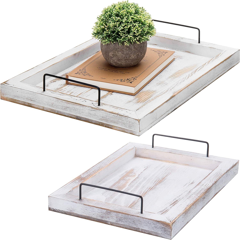 MyGift Shabby Whitewashed Wood Nesting Serving Trays w/Metal Handles, Set of 2