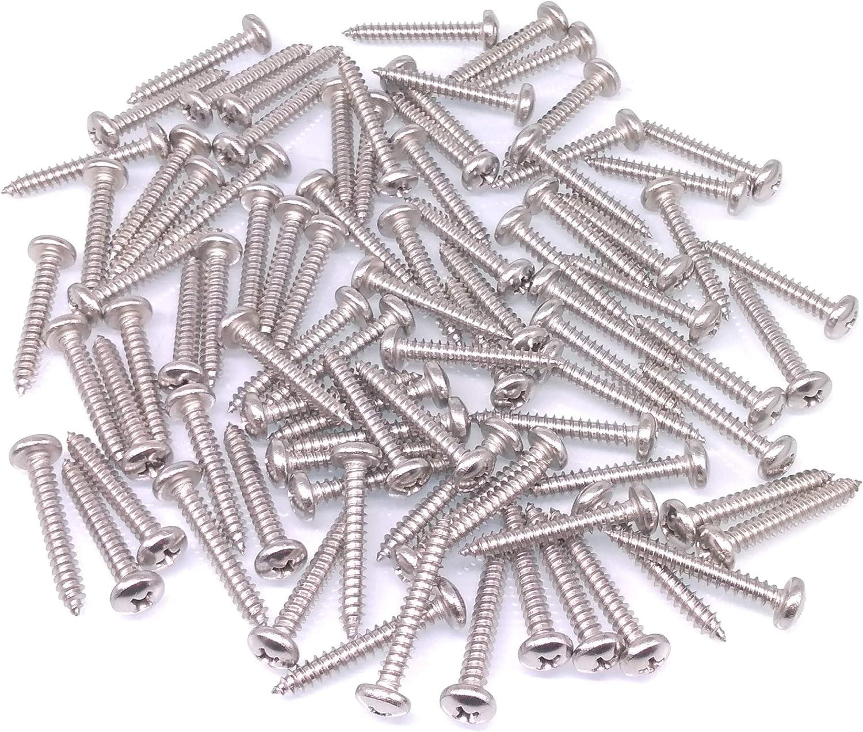 Yodaoke 200pcs #8 x 1//2 304 Stainless Steel Phillips Pan Head Wood Screws