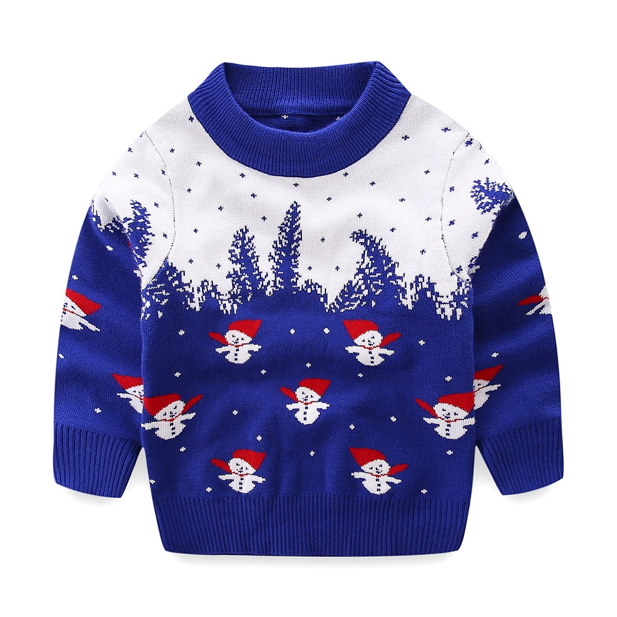 Mud Kingdom Little Boys Blue Christmas Sweaters Snowman ZS0504