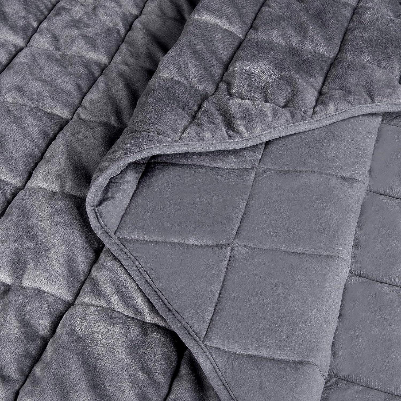 HOLISTAR Couvre lit 150x200cm Couverture de lit matelass/é literie Qualit/é Finition Microfibre de Flanelle Gris Fonc/é