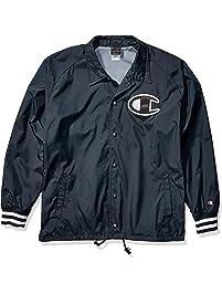 Champion Mens Satin Coaches Jacket with Ribbed Cuffs Varsity Jacket