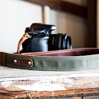 product image for The Nomad Personalized Fine Leather & Canvas Camera Strap in Forest Green