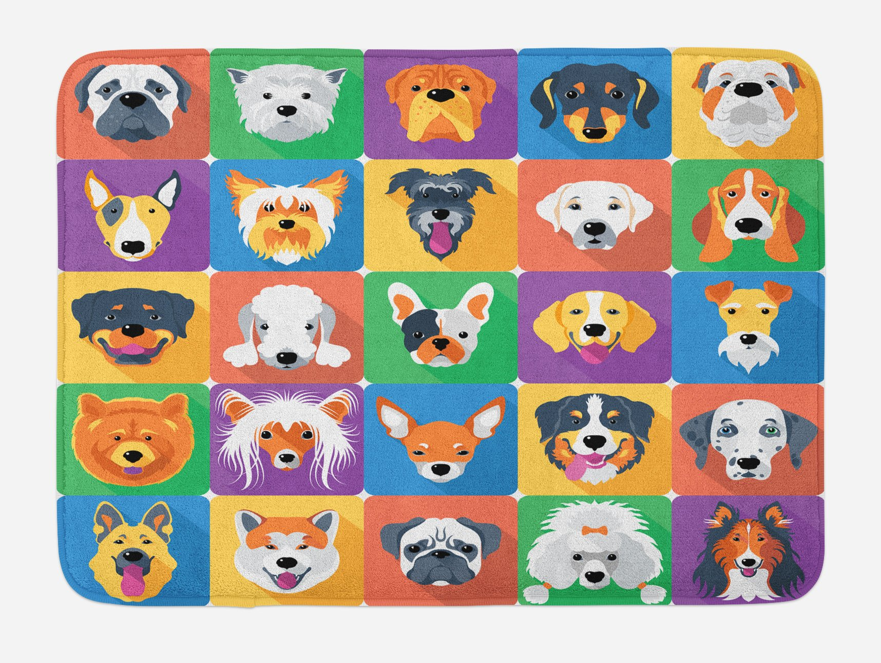 Ambesonne Dog Bath Mat, Dog Breeds Profiles Pets Shepherd Terrier Labrador Domestic Animals Illustration, Plush Bathroom Decor Mat with Non Slip Backing, 29.5 W X 17.5 W Inches, Purple Green