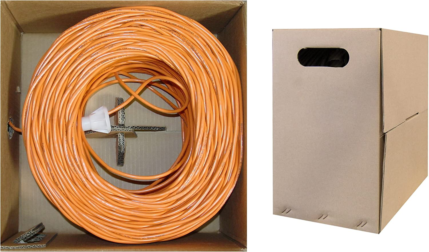 Unshielded Twisted Pair 1000 Foot UTP Stranded Bulk Cat5e Orange Ethernet Cable Pullbox