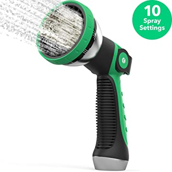 Vremi Heavy Duty Metal Garden Hose Nozzle   10 Pattern High Pressure Thumb  Control Jet Shower