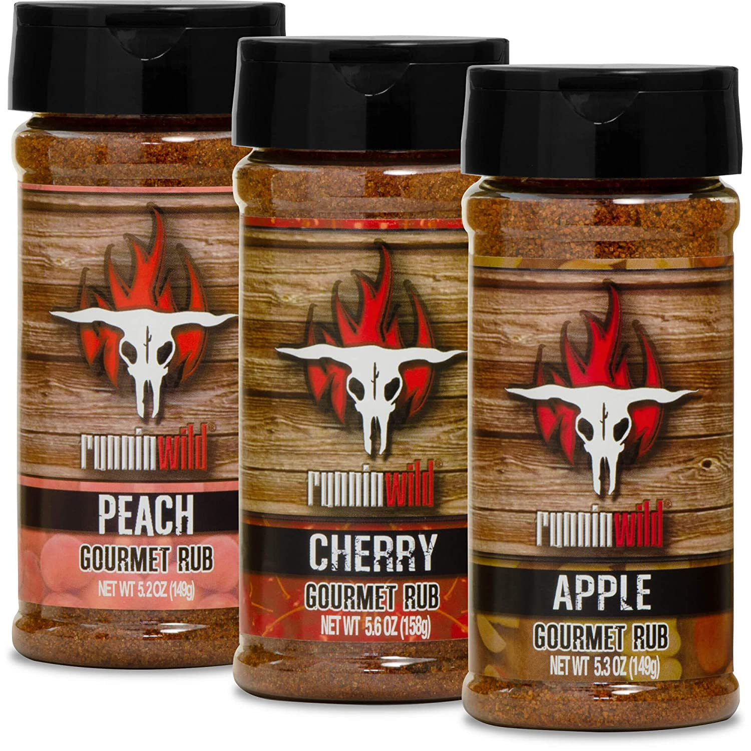 Full Fruits Seasoning Kit, Peach, Apple, and Cherry | Made in the USA | Premium Rubs and Spices for Meats and Veggies | Runnin' Wild Foods