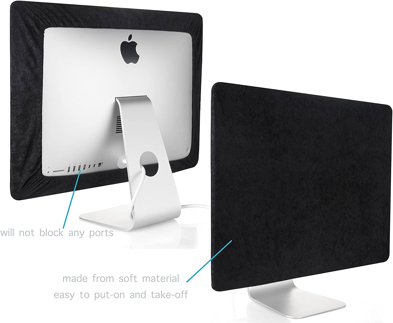 Kuzy - iMac Cover 21 inch | Monitor Cover 21 inch Computer Screen Protector (Models A1418 A1311 A1224) Newest Version Retina 4K iMac 21.5 inch Cover - Black