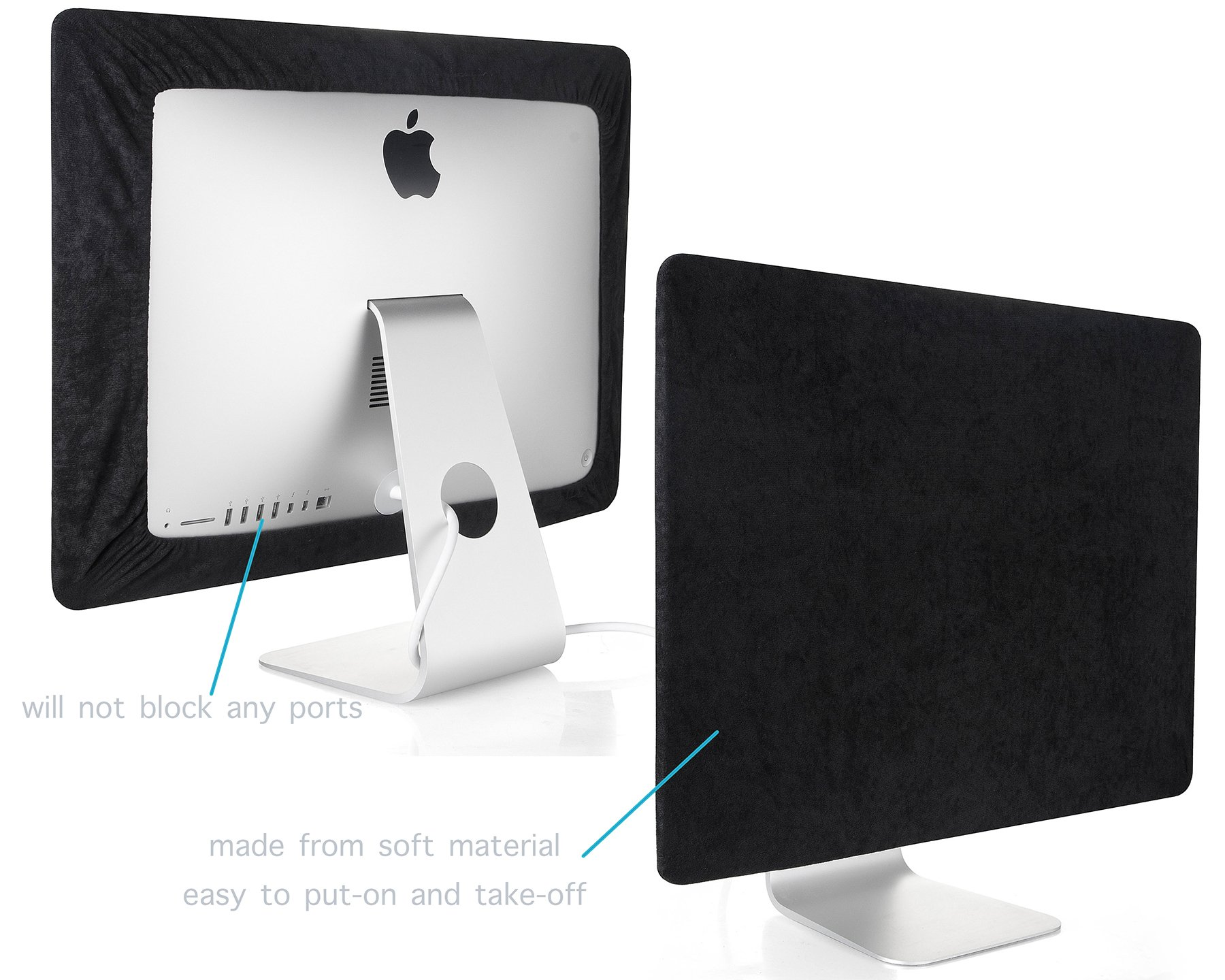 Kuzy - iMac Cover 27 inch | Monitor Cover 27 inch Computer Screen Protector (Models A1862, A1419, A1312) Newest Version Retina 5K iMac 27 inch Cover - Black by Kuzy