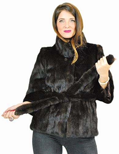 44 Mogano jacket with vertical fur jacket with fur belt pelz nerz pelliccia visone норка fourrure vi...