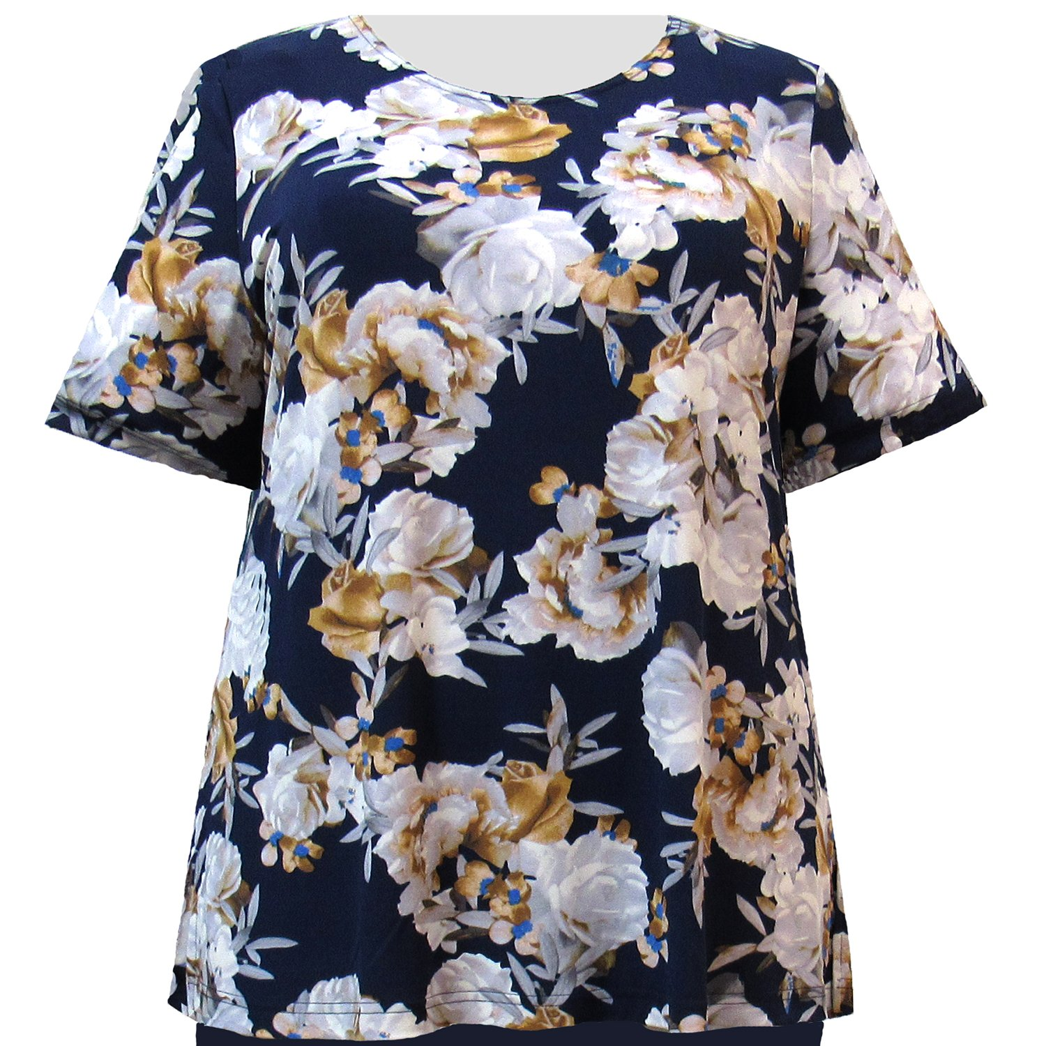 A Personal Touch Women's Plus Size Knit Top Navy Bouquet