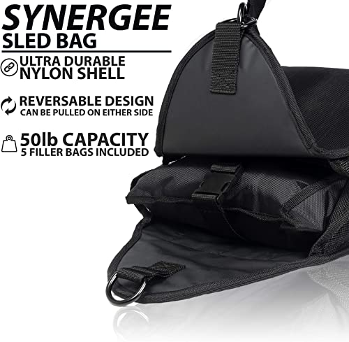 Synergee Weight Sled Trainer. Adjustable Speed Sac from 5 50lbs. Running Sled with Harness and 5 Adjustable Sandbags.