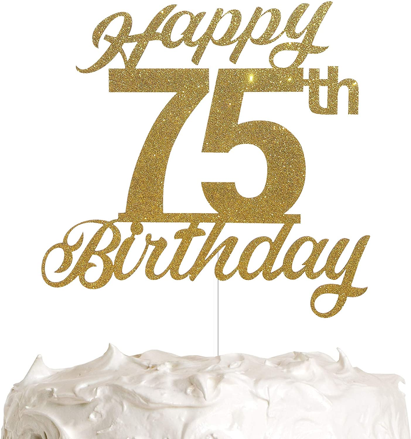 75th Birthday Cake Topper, Birthday Party Decorations with Premium Gold Glitter