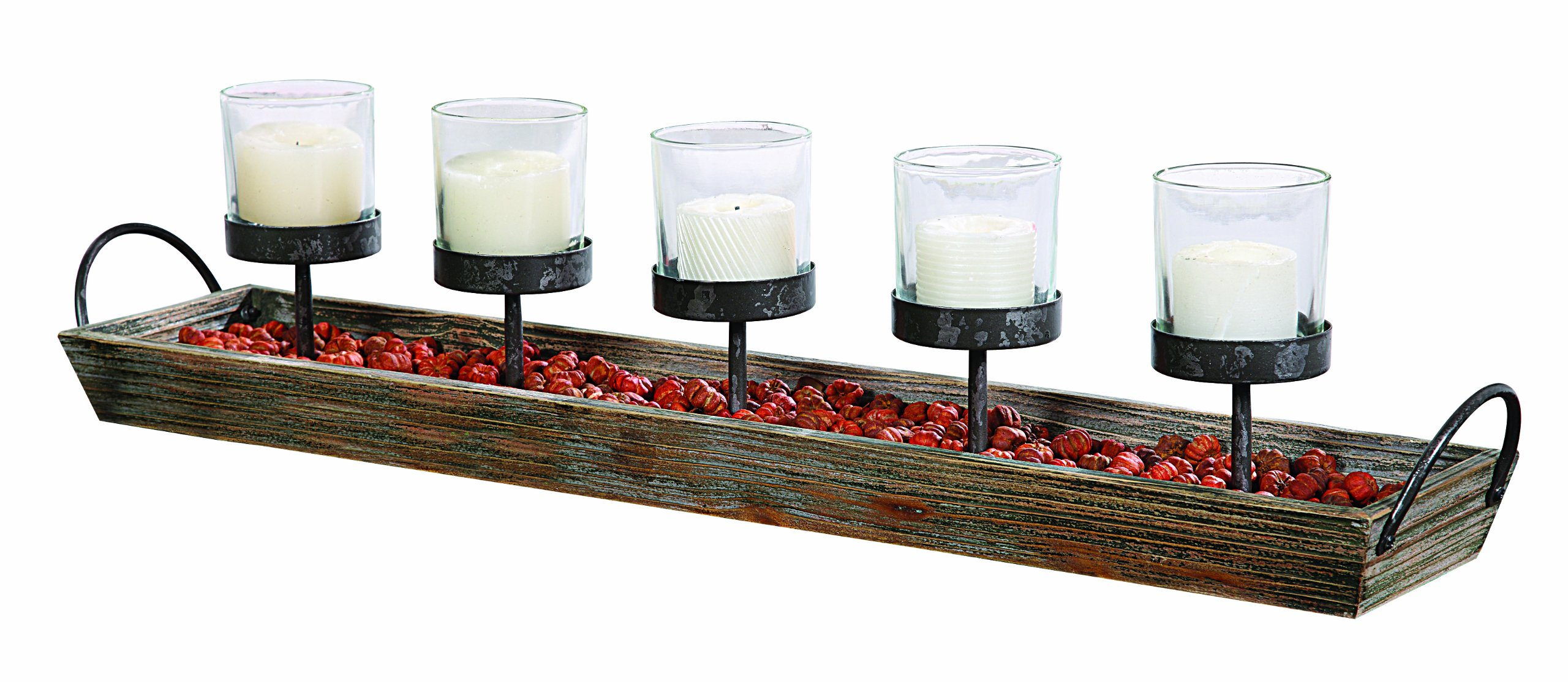 Creative Co-op DE1803 5 Metal Votive Candle Holders in Rectangle Wood Tray with Handles