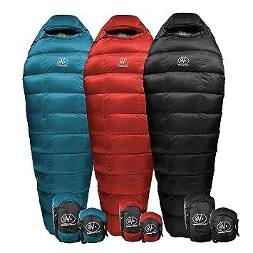 Al aire libre Vitals Cumbre 20 °F abajo saco de dormir, 800 gramaje, 3 temporada, Mummy, ultraligero, Camping, Senderismo: Amazon.es: Deportes y aire libre