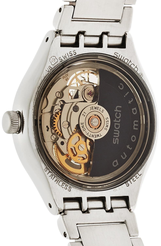 Swatch Reloj Analógico Automático Unisex con Correa de Acero Inoxidable - YAS112G: Amazon.es: Relojes