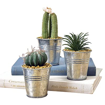 Gift Craft Potted Plant Silver Tone 4 x 2 Zinc Metal and Acrylic Figurines Set of 3: Home & Kitchen