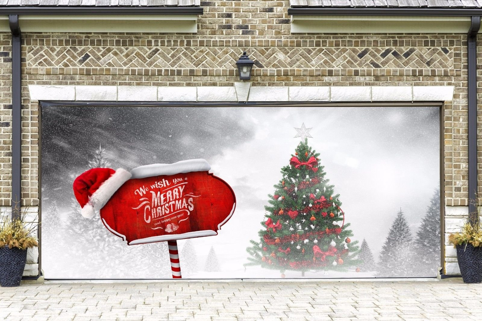 New Year Full Color Christmas Garage Door Covers Banners Outdoor Holiday Merry Christmas Decorations Billboard for 2 Car Garage Door Murals Christmas Decor size 82x188 inches DAV118