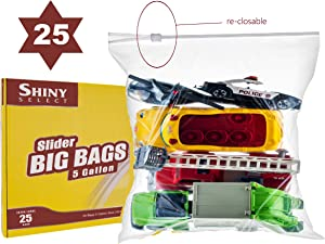 "[Pack of 25] Extra Large Jumbo Big Zip & Lock Freezer Food Storage Bags with Resealable Slider Closure, Big 5 Gallon Size, 18"" x 24"""