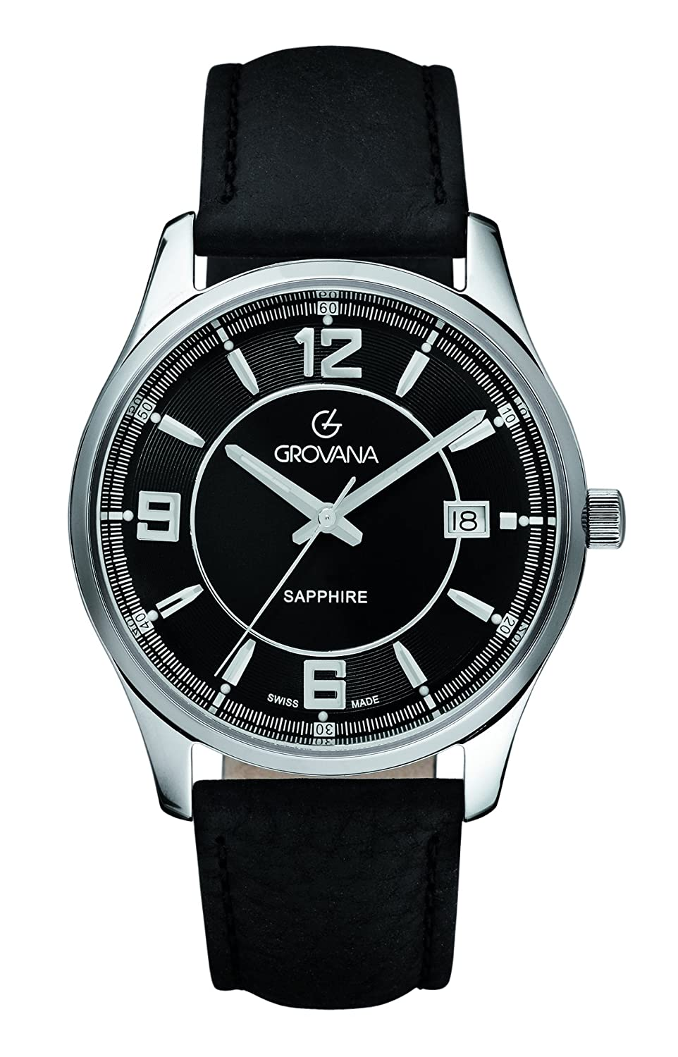 GROVANA 1215.1537 men'Armbanduhr PH4900-C-PH01T Analog Leder schwarz 1215.1537