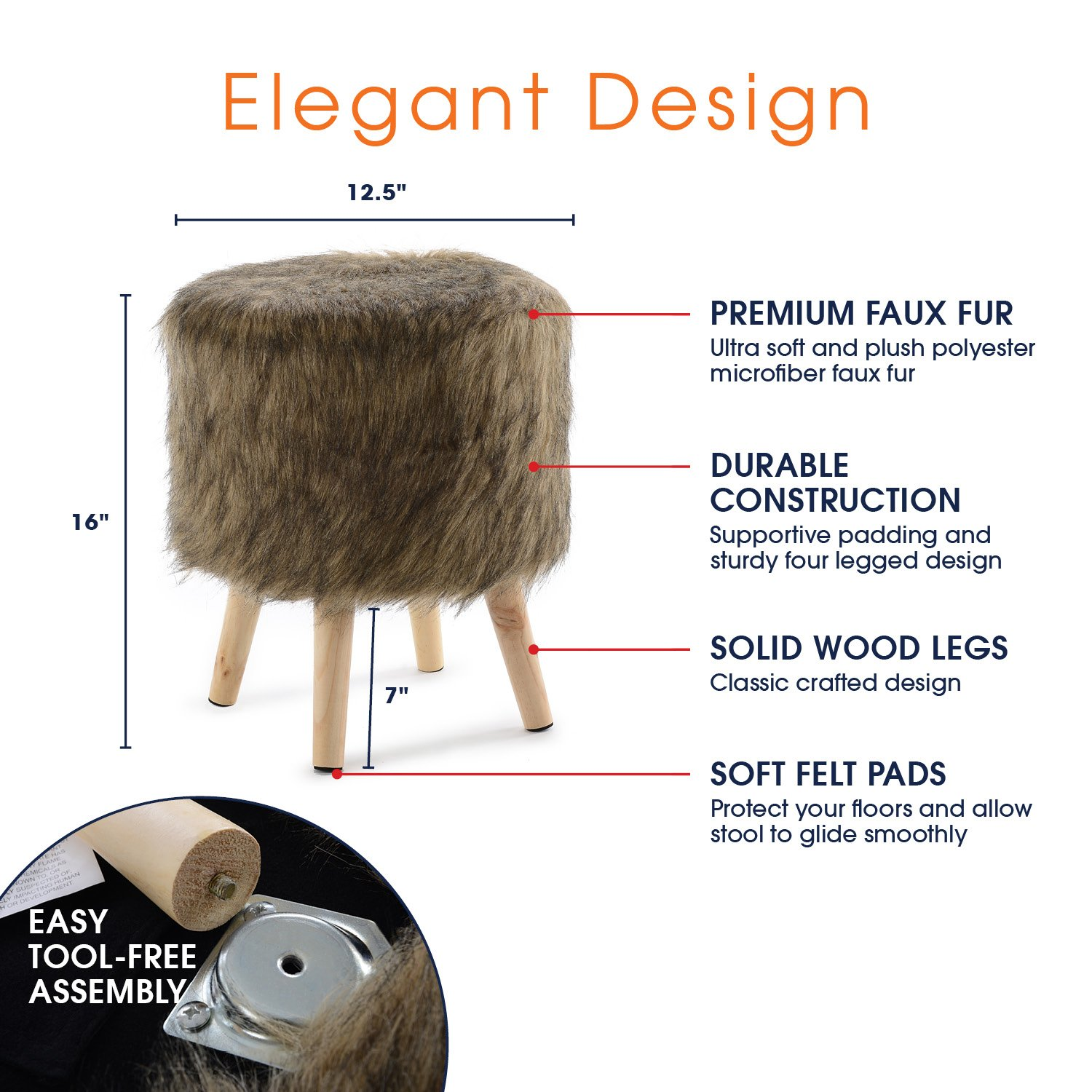 Cheer Collection 13'' Round Ottoman | Super Soft Decorative Brown Mink Faux Fur Foot Stool with Wood Legs by Cheer Collection (Image #3)