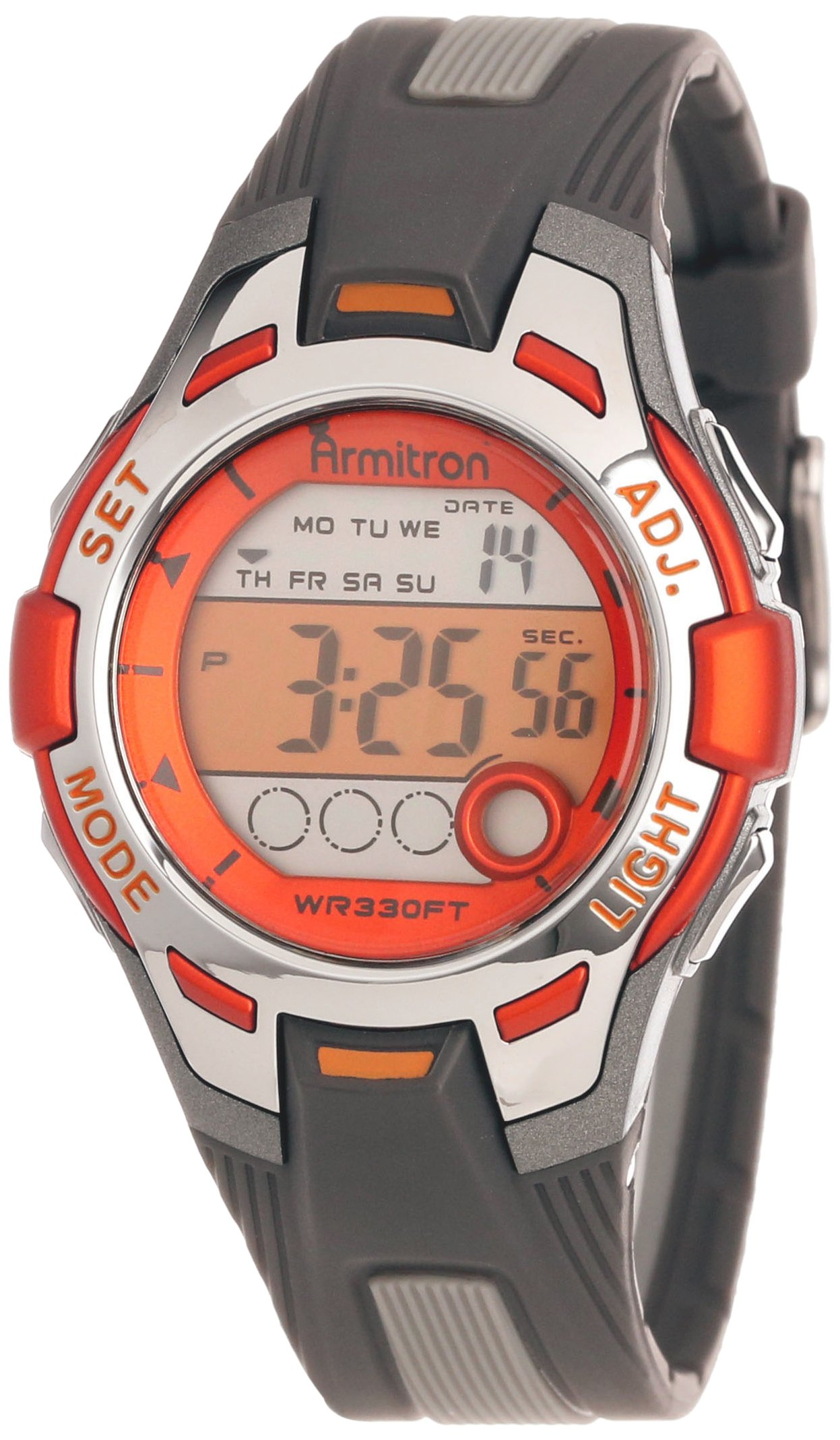 Armitron Sport Women's 45/7030ORG Orange Accented Grey Resin Digital Chronograph Watch