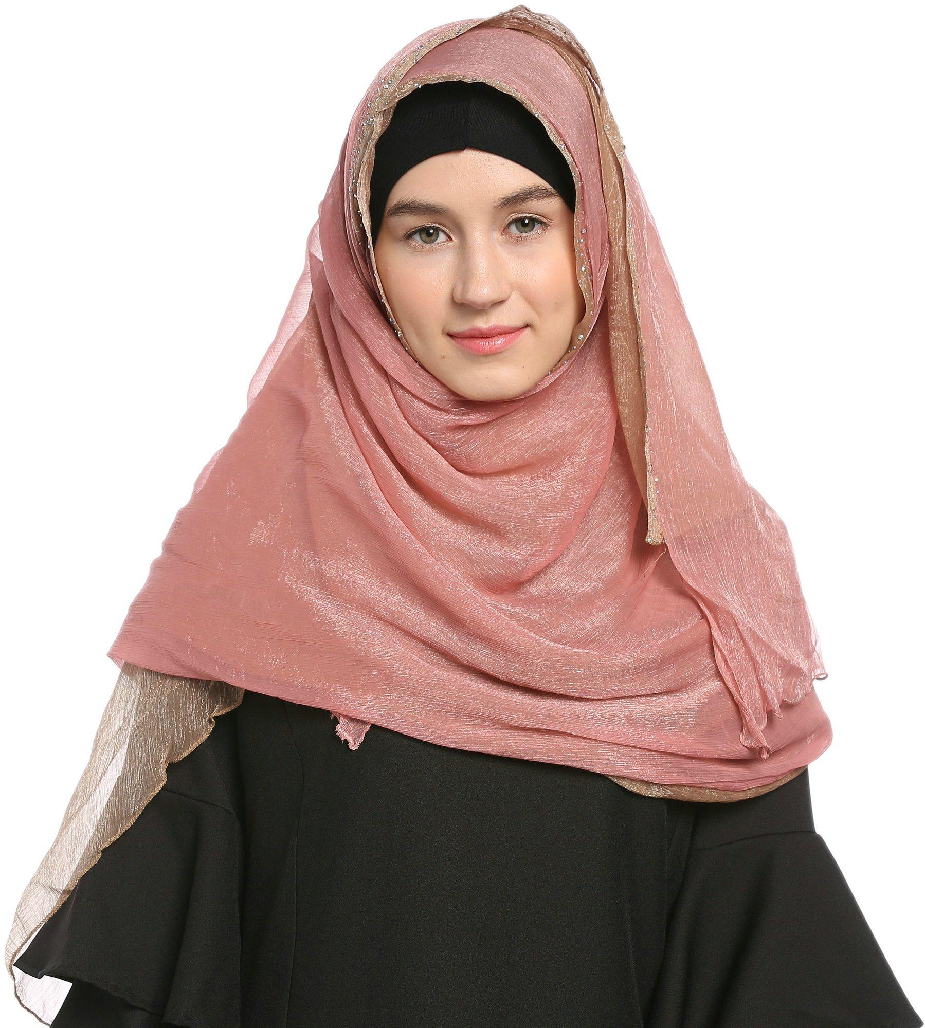 Ababalaya Lace Decorated Wedding Hijab Islamic Hijab,Color3 by Ababalaya (Image #1)