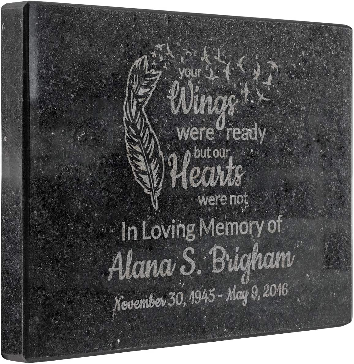 Plaquemaker Your Wings were Ready But Our Hearts were Not Granite Memorial Stone Personalize with Custom Name and Dates Great Sympathy Gift Garden Memorial or Tribute to a Lost Loved One