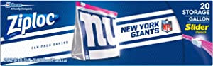 Ziploc Brand NFL New York Giants Slider Gallon, 20 ct