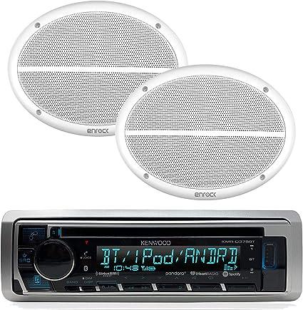 "4 Marine 6x9/"" White 2Way Speakers,Kenwood USB For iPod CD Bluetooth Marine Radio"