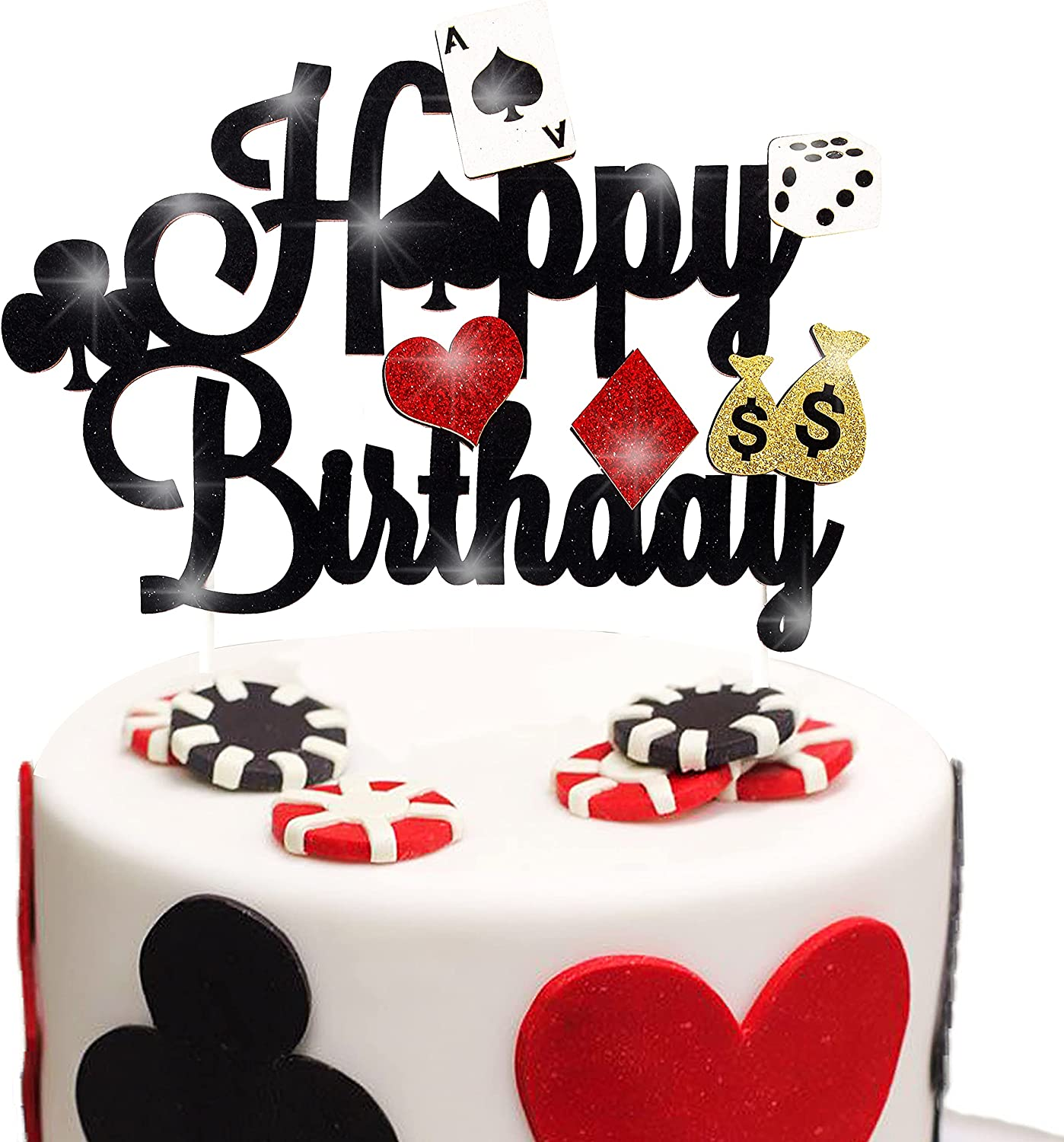 Casino Party Decorations,Poker Cake Topper for Las Vegas Casino Night Poker Events Birthday Party Supplies Glitter Casino Cake Topper Food Picks Decoration Supplies