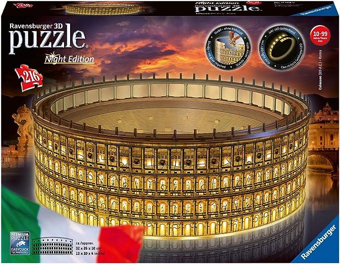 Ravensburger 11148 Puzzle 3D Colosseo, Edición Nocturna, 216 Piezas, Multicolores, Edad Recomendada 10+, Dimensiones Finales 32x26x10 cm: Amazon.es: Juguetes y juegos