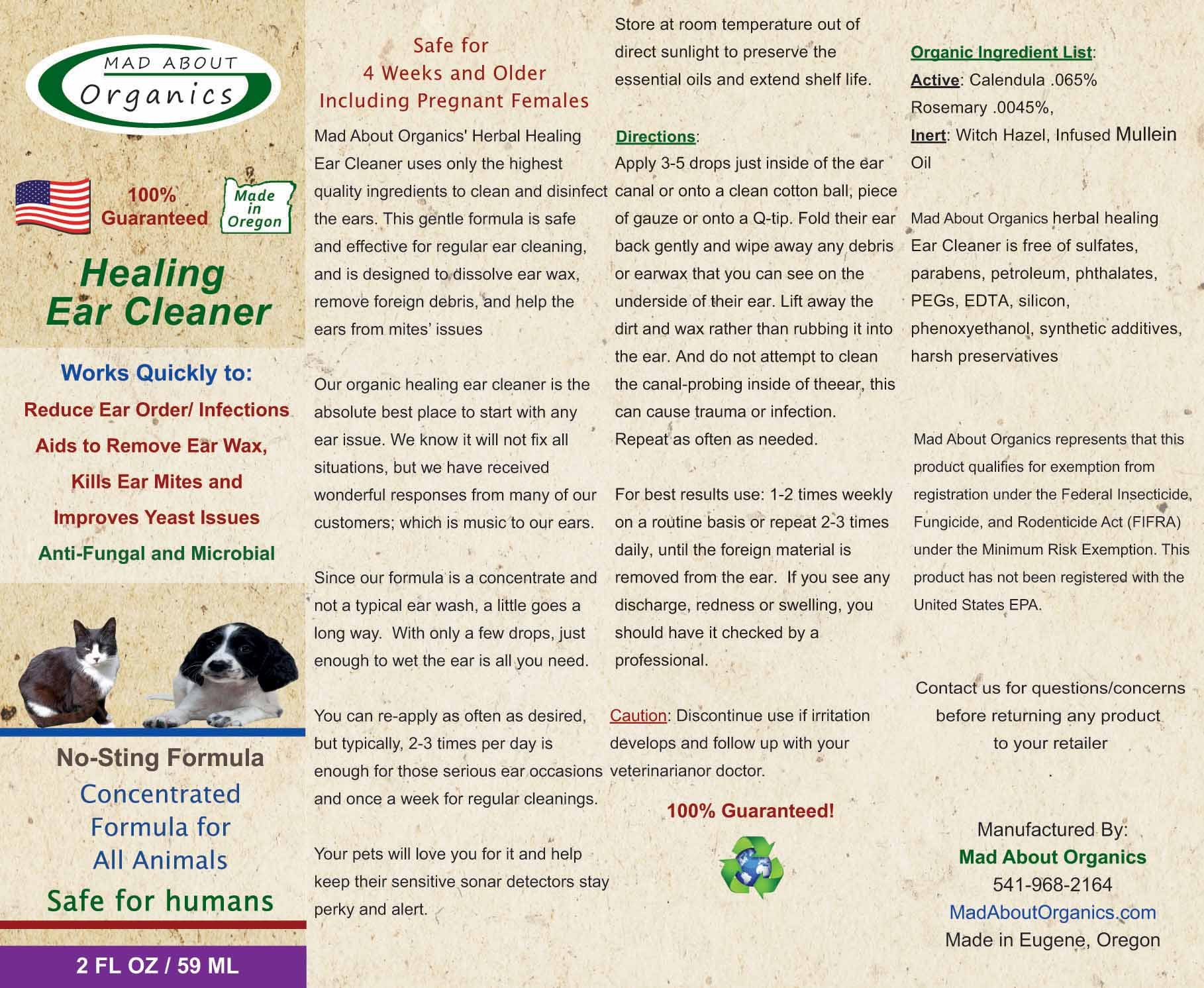 Mad About Organics All Natural Dog & Cat Healing Ear Cleaner Pain Reliever 2oz by Mad About Organics (Image #2)