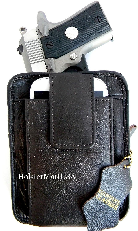 amazon com dark brown leather concealment gun belt pack holster for