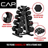 CAP Barbell 150-lb Hex Dumbbell Weight Set with