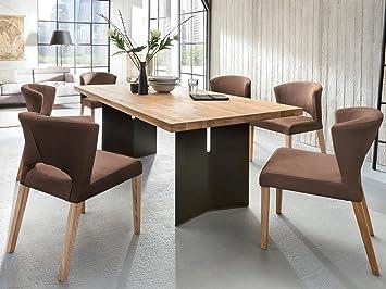 Esszimmerstuhl Polsterstuhl 2 Er Set Runa Kunstleder Massiv Holz Braun  Komfort Stuhl