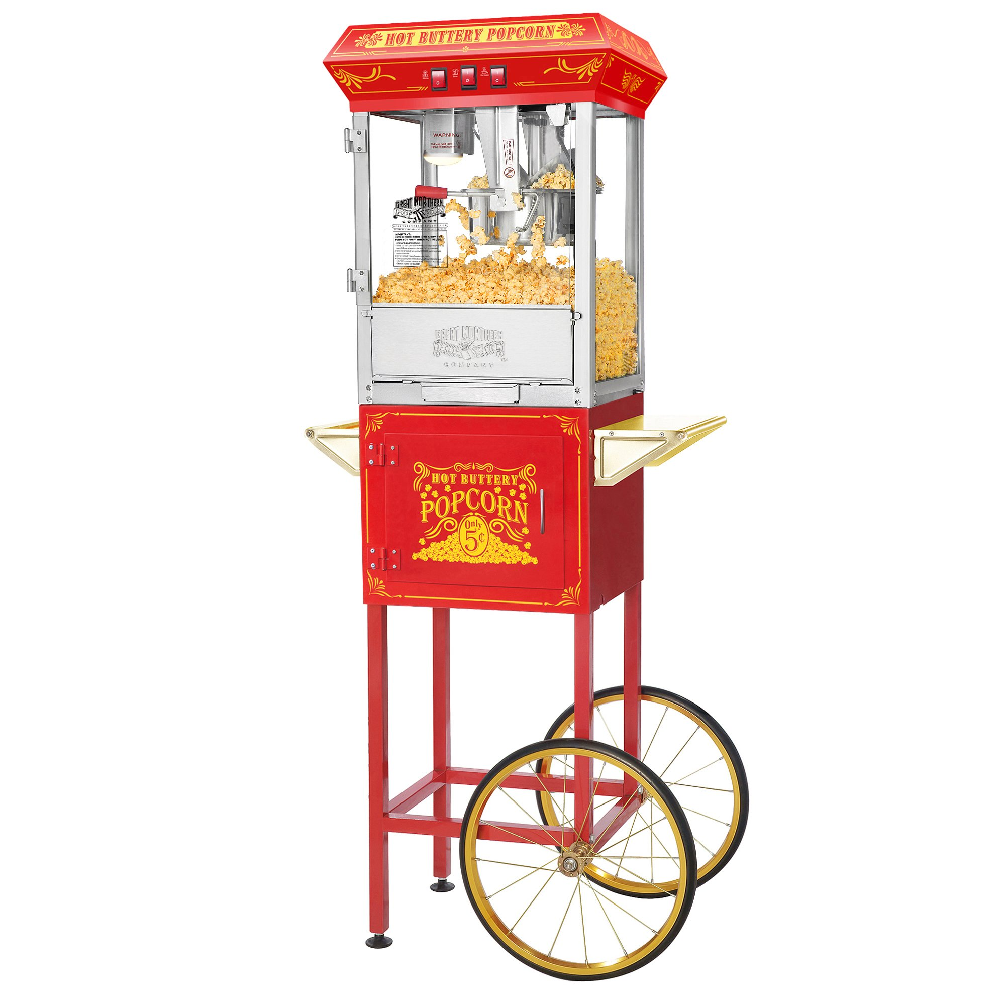 Great Northern Popcorn Red Good Time Popcorn Popper Machine Cart, 8 Ounce