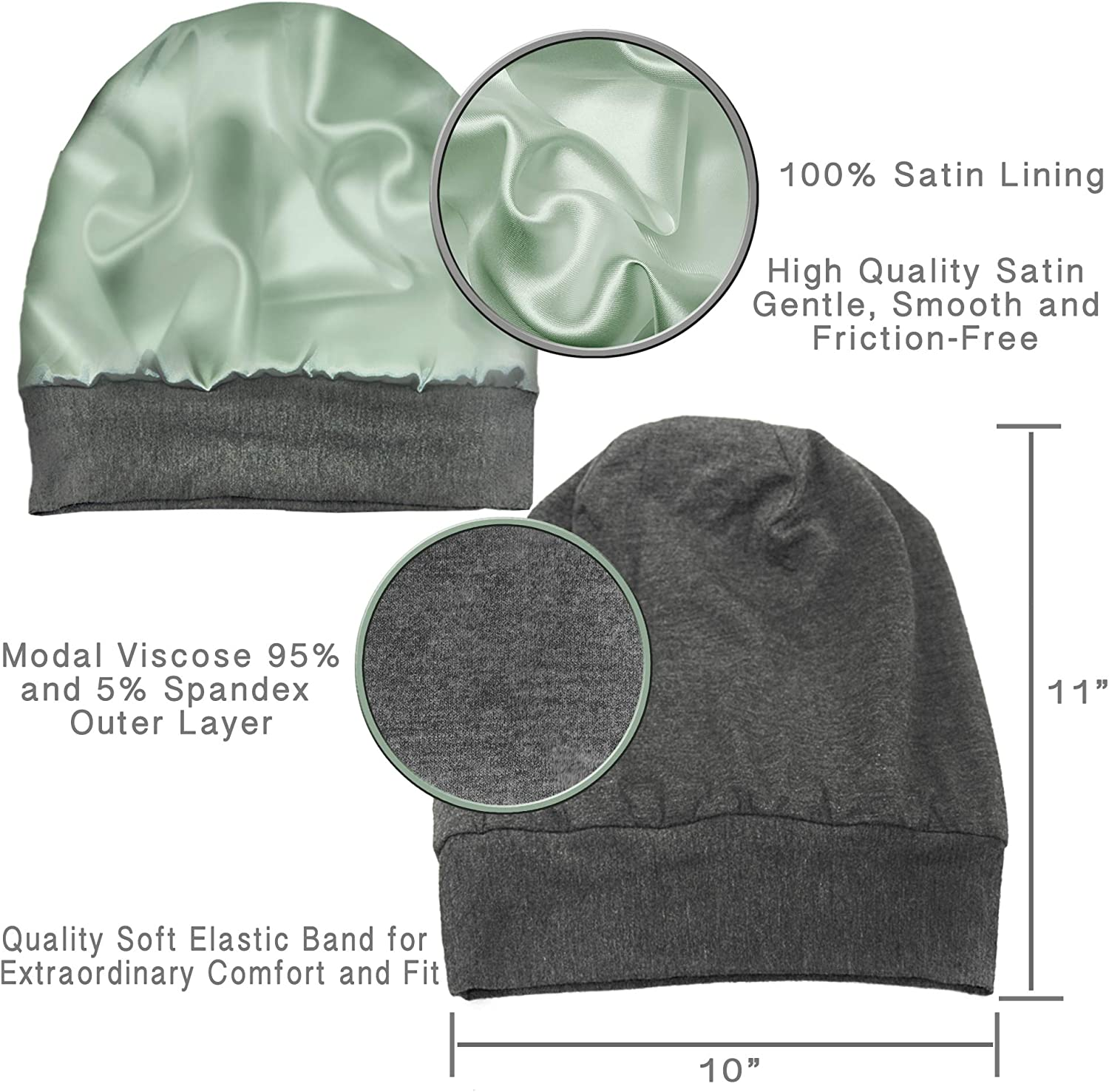 ALEXANDER PRODUCTS Satin Lined Sleep Cap Slouchy Beanie Slap Hat for Natural Curly Girls and Frizzy Hair Cap for Women