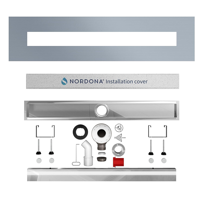 Longueur : 120 cm Caniveau de douche en acier inox poli miroir NORDONA/® Complete Basic HG avec filtre-cheveux syst/ème de vidage Wirquin 360/° Y compris : grille /« classique/» poli miroir