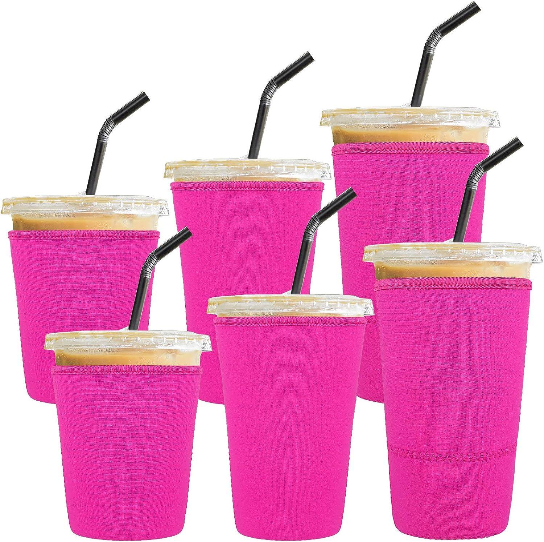 Ruisita 6 Pack Reusable Iced Coffee Sleeves Drink Insulator Sleeves Neoprene Cup Cover Drink Holders Cup Coolers for Cold Beverages, Coffee, Milktea, Pink
