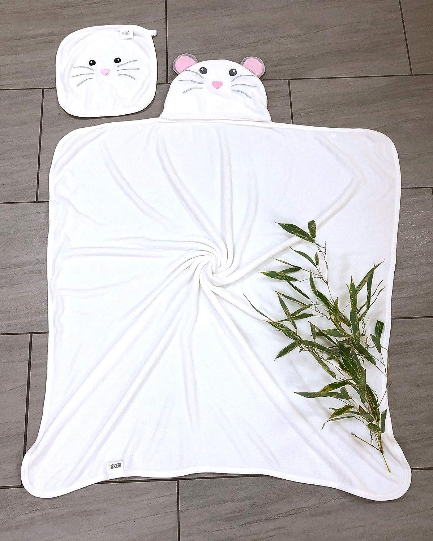 90x100cm Nouveaut/é : 2 boutons pression pour fermeture souple d/ébarbouillette gratuite 0-6 ans Serviette de bain enfant HECKBO serviette de toilette /à capuche souris en laine de bambou douce