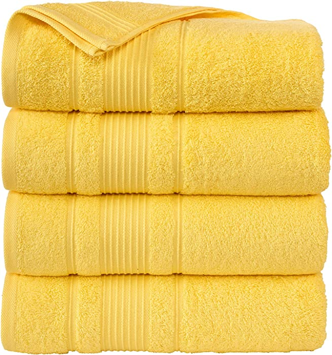 """Cappadocia Collection Yellow Bath Towels 4 Piece Set 100% Cotton Luxury Quick Dry Turkish Towels for Bathroom Guests Hot Tub Pool Gym Camp Travel College Dorm Hotel Quality Soft and Absorbent 27""""x54"""""""