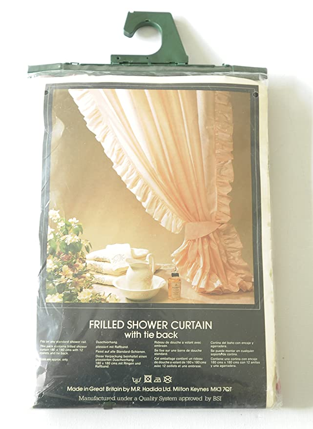Frilled Shower Curtain With Tie Back Size 180cm X180cm Approx Chats Pink Colour Amazoncouk Kitchen Home