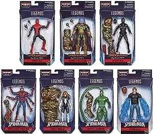Marvel Legends Infinite 6 Inch Action Figure Spider-Man Molten Man Series - Set of 7 (BAF Molten Man)