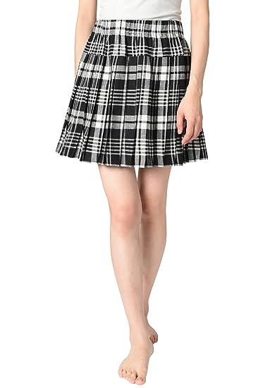 40cf2349f JustinCostume Women's Plaid Pleated Skirt School Girl Costume 2X Black White