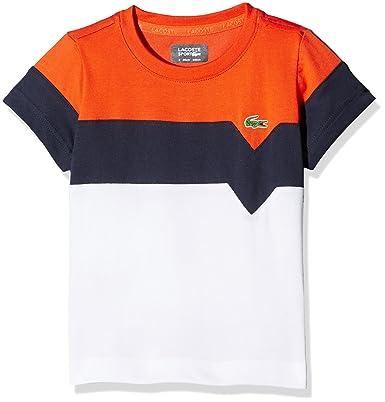 aa448b98d4 Lacoste Boy's TJ8818 T-Shirt, White (Blanc/Marine-Mexico), 6 Years ...