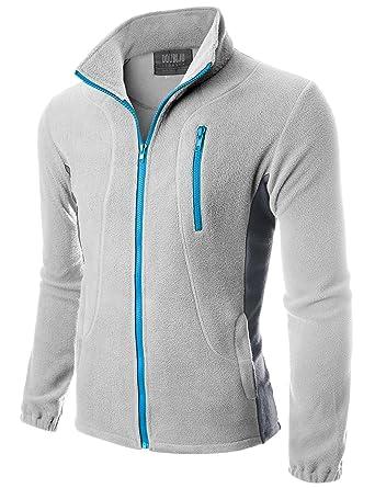Doublju Mens Zipper Colorblock Lightweight Fleece Jacket at Amazon ...