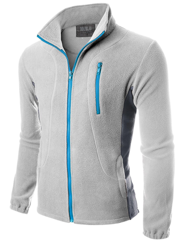 Doublju Mens Colorblock Long Sleeve Basic Lightweight Fleece Jacket LIGHTGRYCOOLGRAY,S