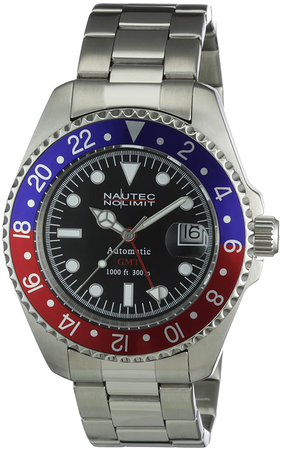 Nautec No Limit Herren-Armbanduhr Deep Sea Analog Automatik DS AT-GMT-STSTRDBLBK