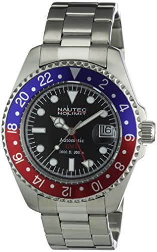 5b3cd6740dc Nautec No Limit Men's Deep Sea Watch DS at-GMT/STSTRDBLBK: Amazon.co.uk:  Watches